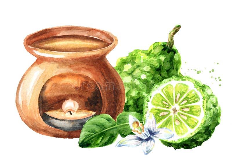 Bergamottenfruchtätherisches öl und Aromalampe Gezeichnete Illustration des Aquarells Hand lokalisiert auf wei?em Hintergrund stock abbildung
