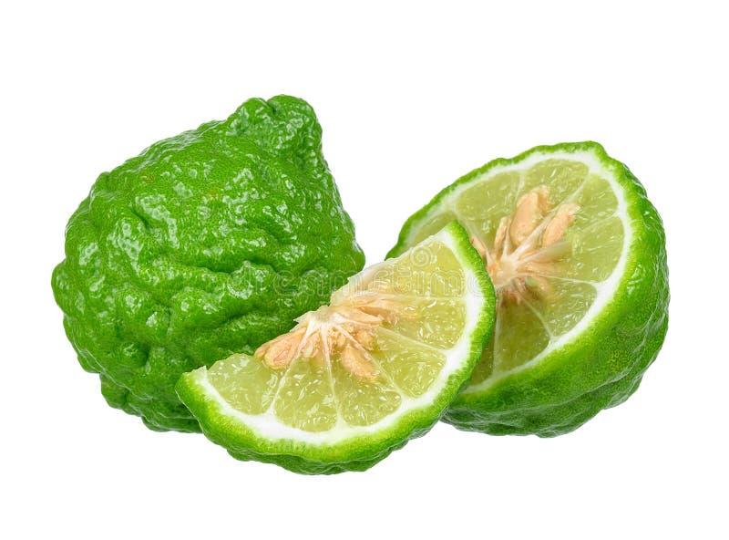Bergamottenfrucht lokalisiert auf dem weißen Hintergrund lizenzfreie stockfotos