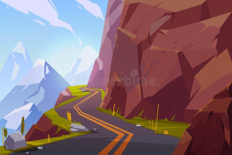 Bergasfaltväg, lockig slingrig tom huvudväg royaltyfri illustrationer