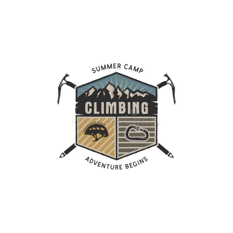 Bergavontuur, die Uitstekend Hand Getrokken Embleemmalplaatje beklimmen Het openluchtsymbool van de activiteitensport Carabiner e stock illustratie