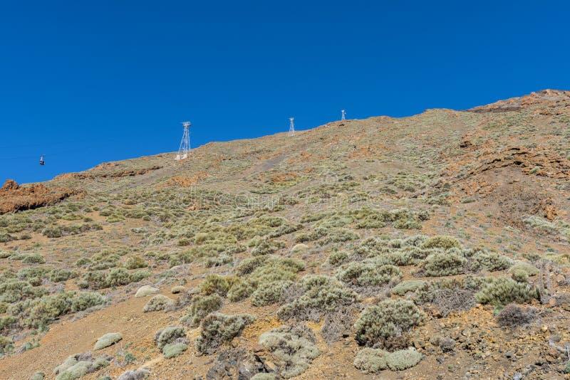 Bergbanan på lutningarna av Teide arkivbilder