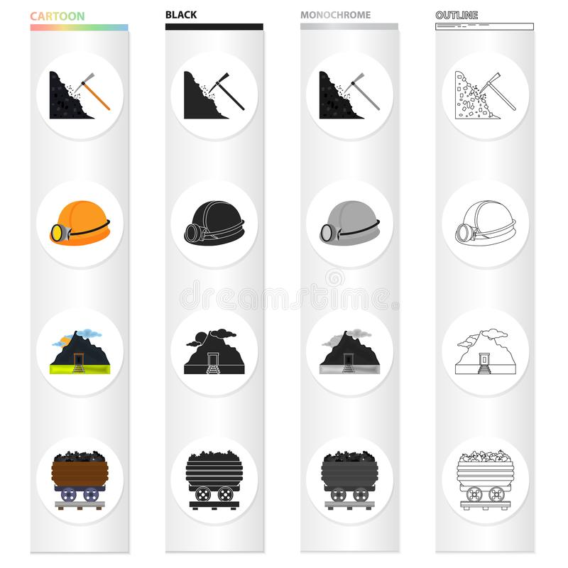 Bergbau, Ausrüstung, Werkzeuge und andere Netzikone in der Karikaturart Fossil, Ökologie, Industrie, Ikonen in der Satzsammlung vektor abbildung