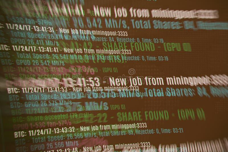 Bergbau cryptocurrency Hintergrund Bitcoin lizenzfreie stockfotografie
