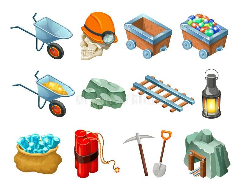 Bergbau-Spiel-isometrische Element-Sammlung lizenzfreie abbildung