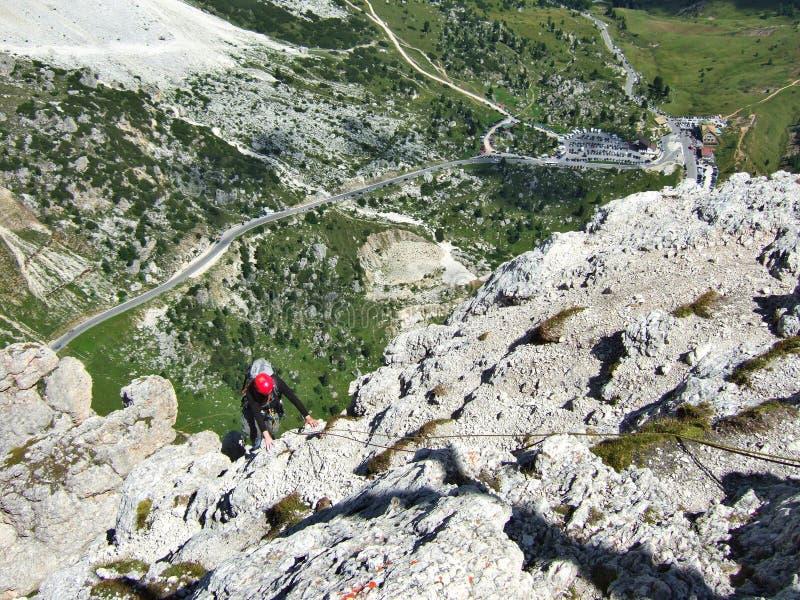 Bergbeklimming in Dolomiten royalty-vrije stock foto's