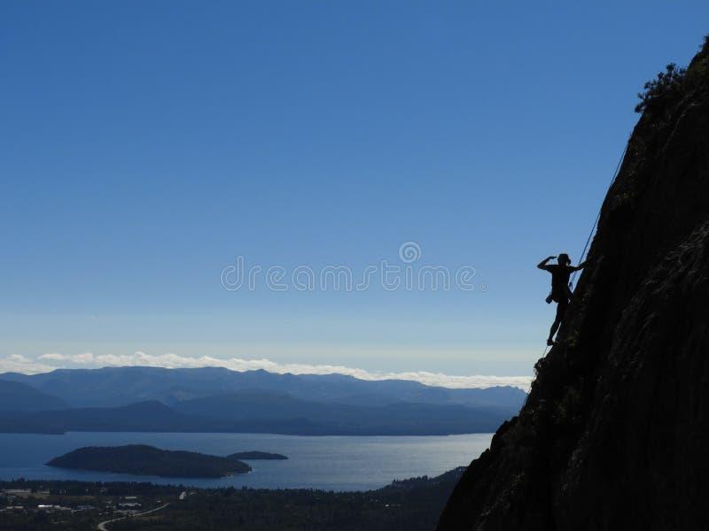 Bergbeklimming in magisch Patagonië stock foto