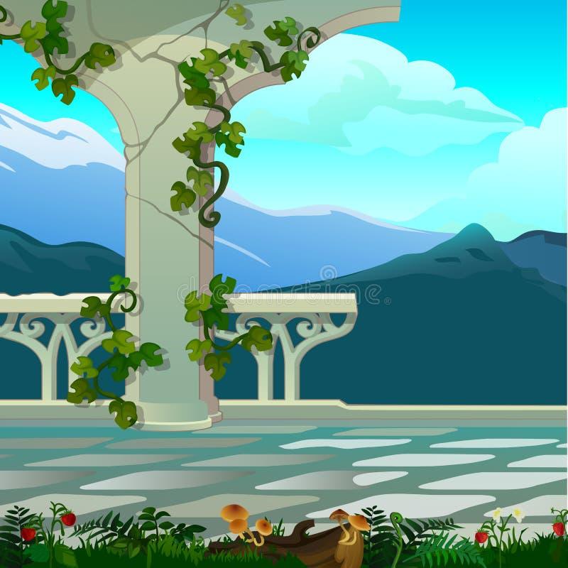 Bergblicke vom Balkon mit aufwändiger Balustrade Weinlesearchitektur Vektorkarikatur-Nahaufnahmeillustration lizenzfreie abbildung