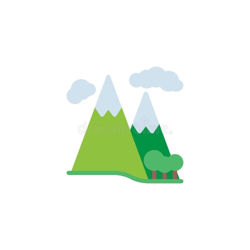Bergbos en wolken vlak pictogram royalty-vrije illustratie