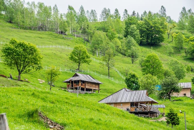 Bergby i Carpathians arkivfoto
