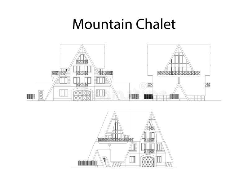 Bergchaletfasad och avsnitt, detaljerad arkitektonisk teknisk teckning, vektorritning stock illustrationer
