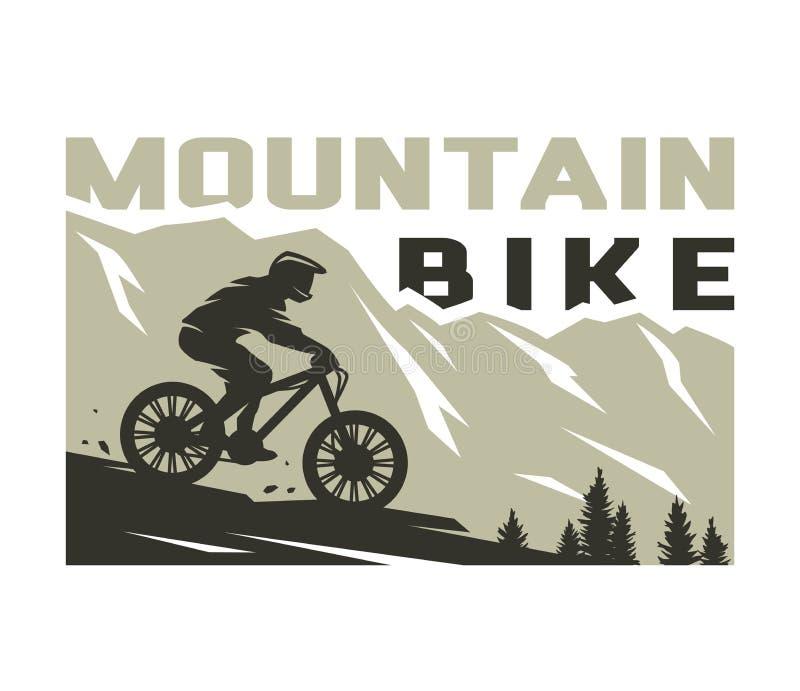 Bergcykel Silhouette med en cyklist i bergens bakgrund Vektorillustration stock illustrationer