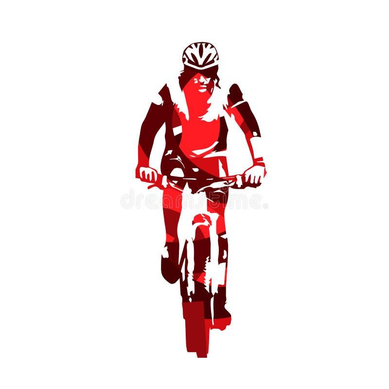 Bergcyklist, abstrakt röd vektorkontur royaltyfri illustrationer