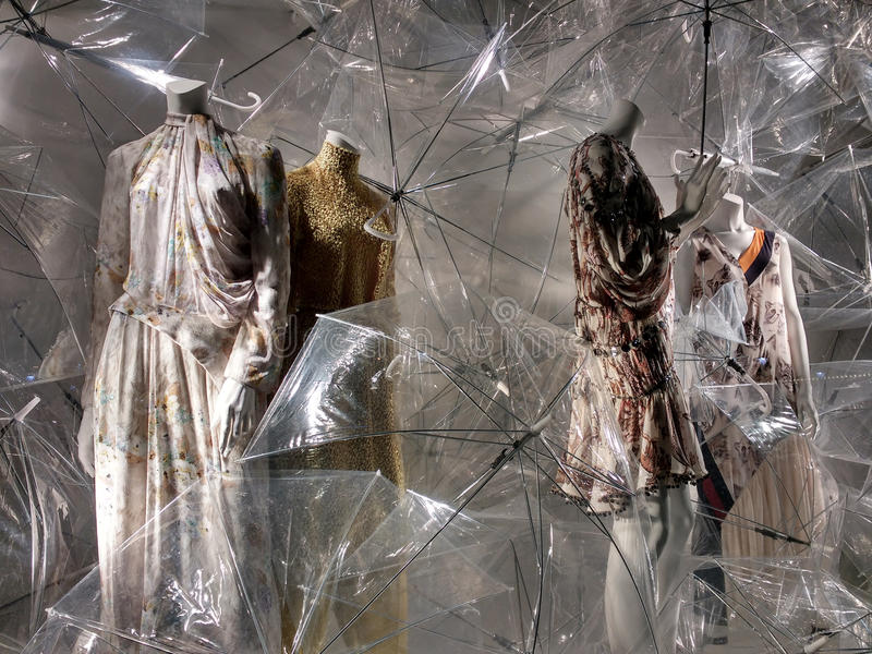 Bergdorf Goodman Display Window, New York City, NY, USA stock image