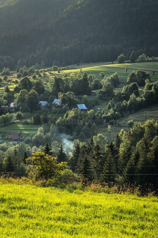 bergdorp in de bossen van Midden-Europa stock foto