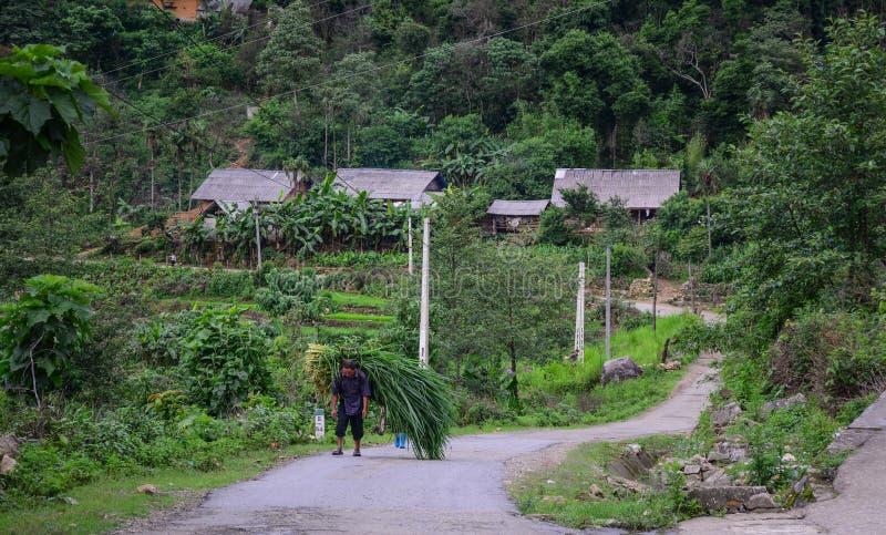 Bergdorp in Lao Cai, Vietnam royalty-vrije stock afbeeldingen