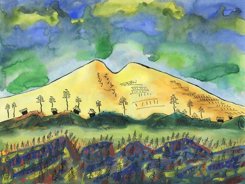 Bergdorp op de achtergrond van een grote sneeuwberg stock illustratie