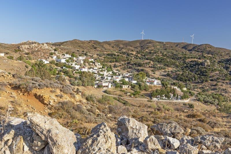 Bergdorp op het Eiland Kreta, Griekenland stock afbeelding