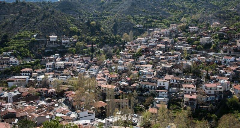 Bergdorp van Palaichori bij Troodos-bergen, Cyprus stock fotografie