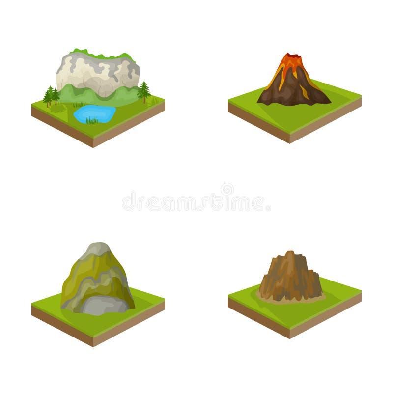 Berge, Felsen und Landschaft Entlastung und Berge stellten Sammlungsikonen Vektorsymbolauf lager der Karikaturart isometrisches e lizenzfreie abbildung