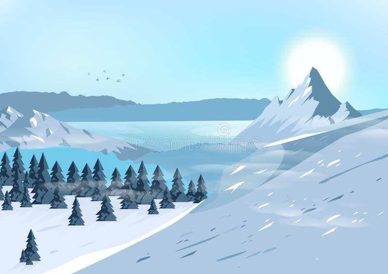 Berge gestalten landschaftlich, reisen und wagen natürliches Konzept postca lizenzfreie abbildung