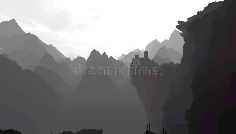 Berge im Grayscale stock abbildung