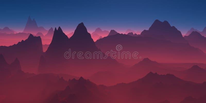 Berge im roten Dunst lizenzfreie abbildung