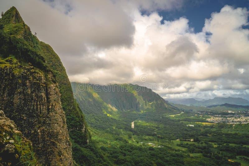 Berge Oahus, Hawaii - Pali-Ausblick stockfotografie