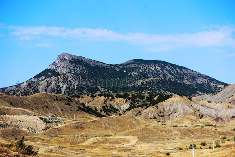 Berge teilweise bedeckt mit Waldsommer, die Republik von Krim stockfotos