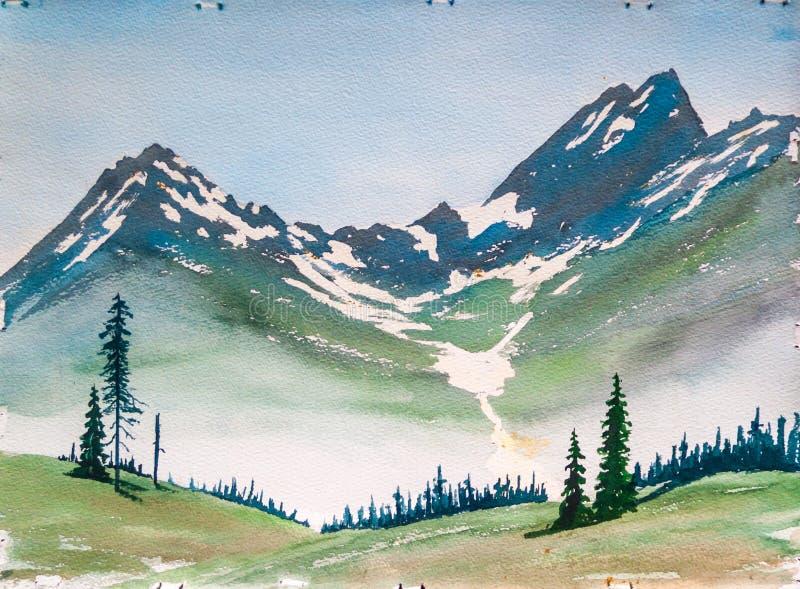 Berge und Immergrün-Baum-Landschaft - ursprüngliches Aquarell lizenzfreie abbildung