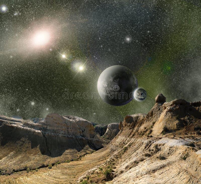 Berge und Kosmosraum vektor abbildung