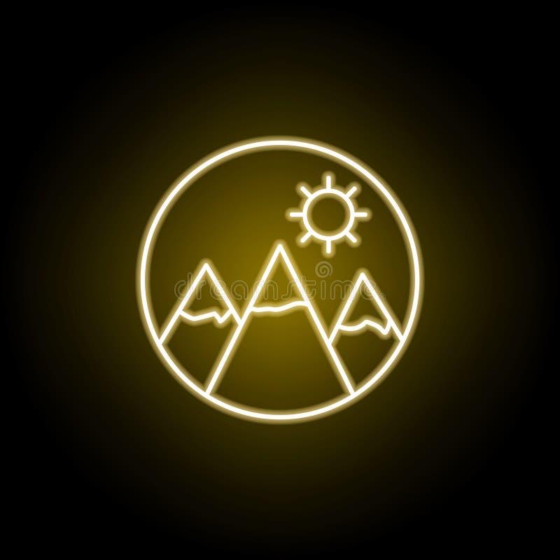 Berge und Sonnenikone in der Neonart Zeichen und Symbole k?nnen f?r Netz, Logo, mobiler App, UI, UX verwendet werden stock abbildung
