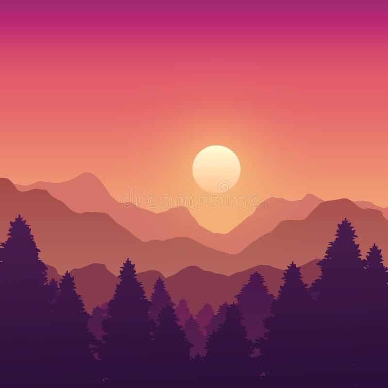Berge und Wald gestalten mit Bäumen auf Sonnenuntergang landschaftlich lizenzfreie abbildung