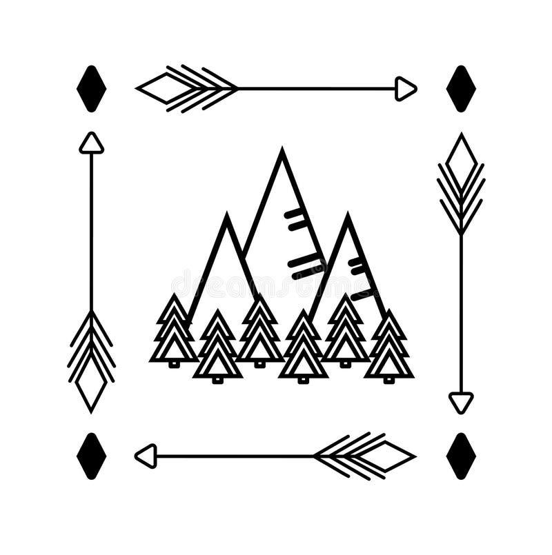 Berge und Waldeinfarbige lineare Zeichnung in der unbedeutenden Art Aufkleber, Logo, Druckkleidung, Tasche, Abziehbildglas stock abbildung