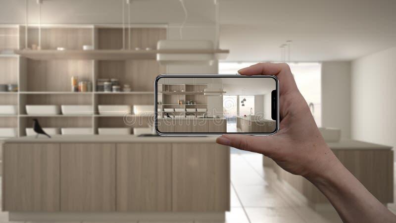 ?bergeben Sie das Halten des intelligenten Telefons, AR-Anwendung, simulieren Sie M?bel und Innenarchitekturprodukte im wirkliche vektor abbildung