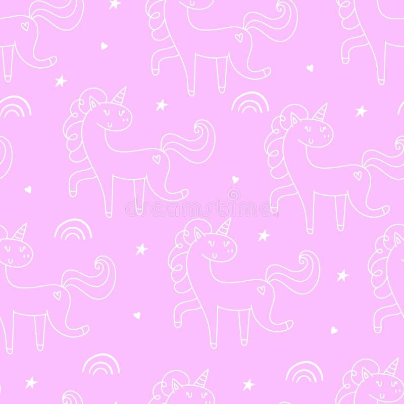 ?bergeben Sie gezogenes nahtloses Vektormuster mit netten Einh?rnern, Sternen und Planeten Sich wiederholende Tapete auf rosa Hin vektor abbildung