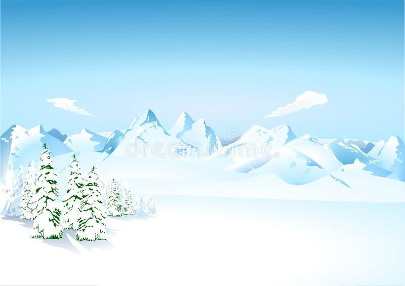 Bergen in de sneeuw vector illustratie