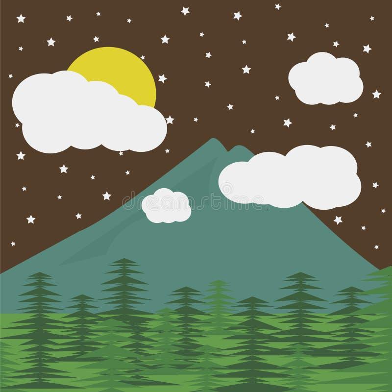 Bergen en de maan stock foto's