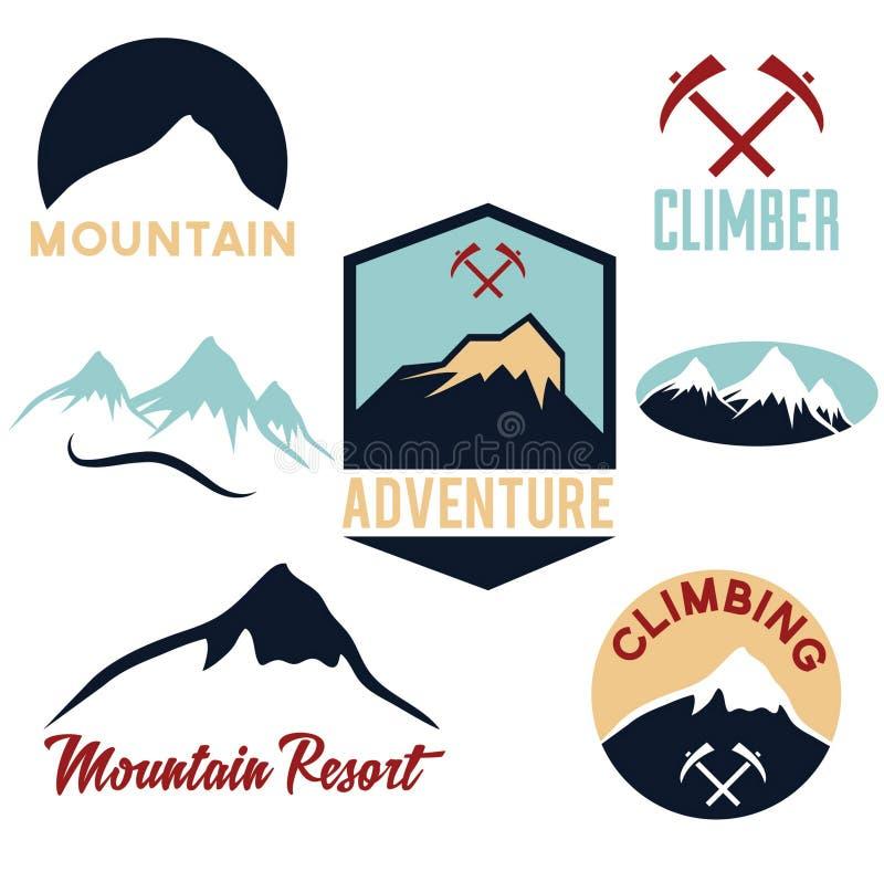 bergen en het beklimmen van pictogrammen vector illustratie