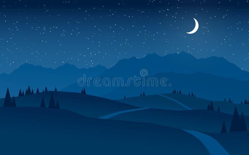 Bergen en heuvels bij het vlakke ontwerp van het nachtlandschap vector illustratie