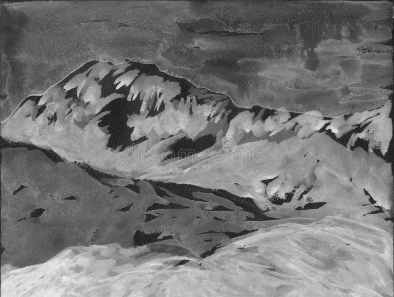 Bergen en heuvels Grijze kleuren grisaille Hand getrokken illustratie Voor kaart, prentbriefkaar, affiche royalty-vrije illustratie