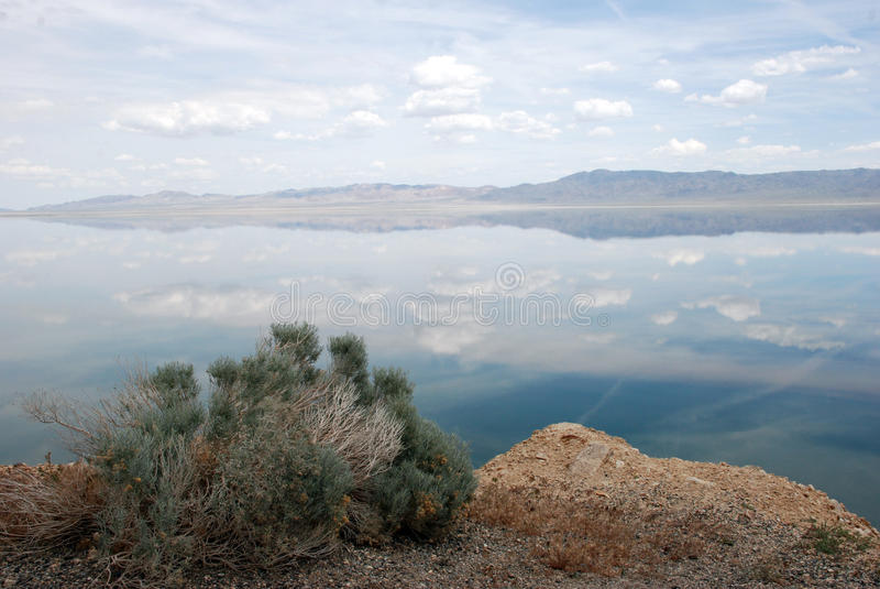 Bergen en leurdermeer in Nevada stock afbeelding