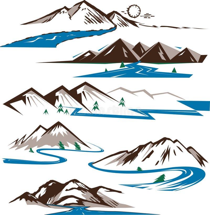 Bergen en Rivieren royalty-vrije illustratie
