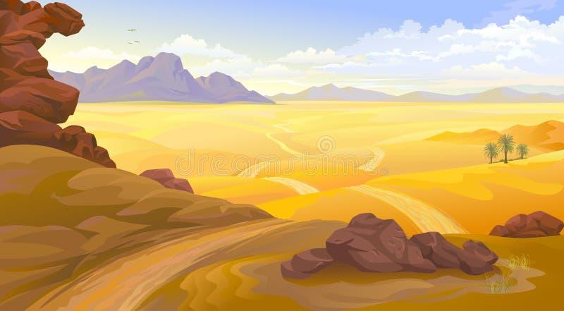 Bergen en rotsen op een woestijnlandschap Een weg over de lege woestijn vector illustratie