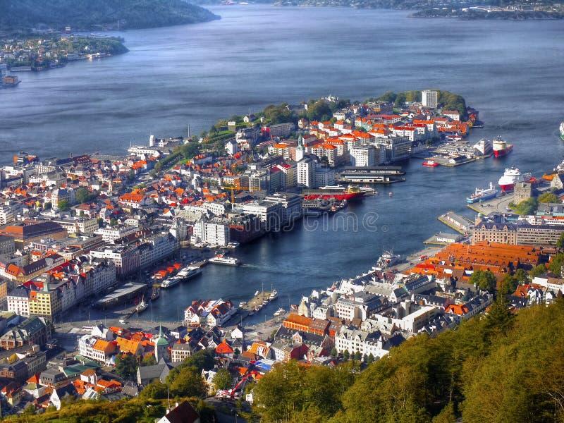 Bergen Floyen sikt, Norge royaltyfri fotografi