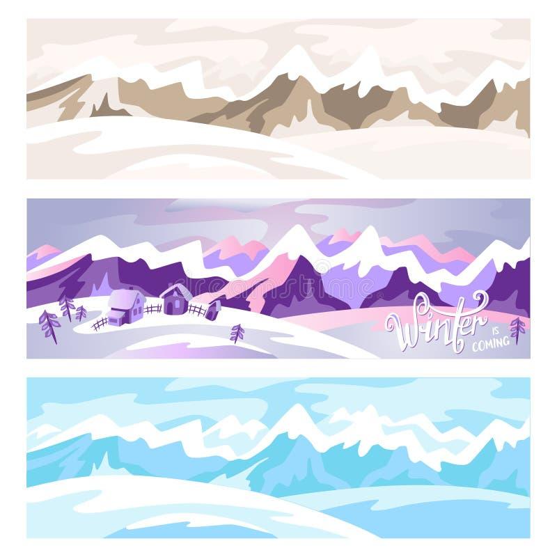 Bergen Het landschap van de winter De achtergrond van de winter royalty-vrije illustratie