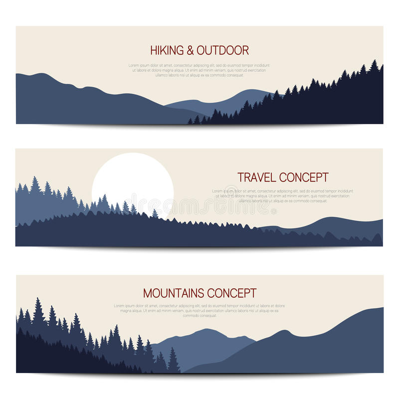 Bergen horizontale achtergronden met plaats voor tekst royalty-vrije illustratie