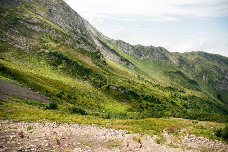 Bergen met Alpiene Weiden in Sotchi Krasnaya Polyana royalty-vrije stock fotografie