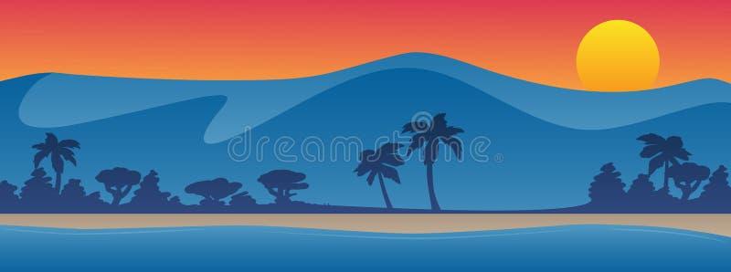 Bergen met van de de zomerscène van de strandoever vectorillustratie als achtergrond royalty-vrije illustratie