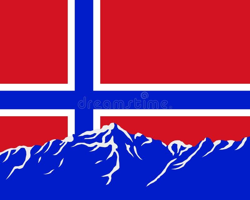 Bergen met vlag van Noorwegen stock illustratie
