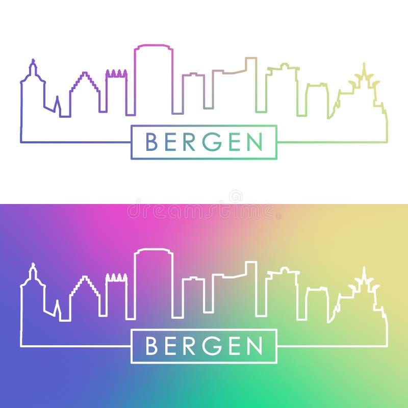 Bergen miasta linia horyzontu Kolorowy liniowy styl ilustracji